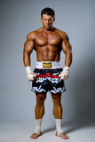 An experienced fighter kickboxer ready for a fight. Royalty Free Stock Photo
