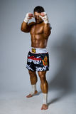 An experienced fighter kickboxer ready for a fight. Full height stock photo