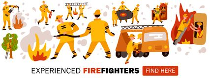Experienced Fire Fighters Header Illustration Stock Illustration