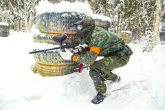 Experienced hunter looking for his target on snow Royalty Free Stock Photo