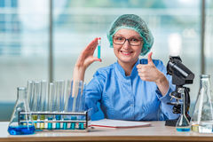 The experienced lab assistant working on chemical solutions Royalty Free Stock Photography