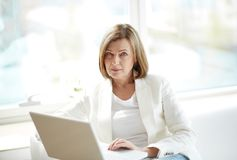 Experienced look. Portrait of an elegant businesswoman with an experienced look Royalty Free Stock Image