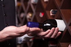 Experienced male worker is choosing drink in. Close up of hands of sommelier taking a bottle of red wine from the shelf Stock Images
