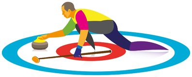 An experienced man is a player in curling, who throw on the heav. Y granite stone on ice Royalty Free Stock Image