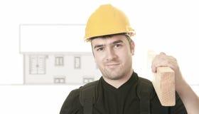 Experienced men carpenterin studio white Stock Image