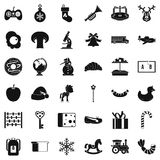 Experienced nanny icons set, simple style. Experienced nanny icons set. Simple set of 36 experienced nanny vector icons for web isolated on white background Stock Photos