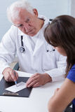 Experienced physician giving prescription Stock Photos