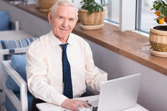 Experienced pleasant executive typing Royalty Free Stock Photos
