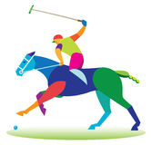 An experienced polo player on horseback Stock Photos