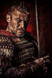 Experienced. Portrait of a courageous ancient warrior in armor with sword royalty free stock photos
