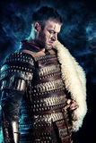 Experienced. Portrait of a courageous ancient warrior in armor with sword royalty free stock photo