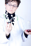 Experienced Scientist. Experienced Doctor holding molecules and flask Stock Photos
