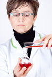 Experienced Scientist Experimenting. Experienced Doctor experimenting with flasks on white royalty free stock image
