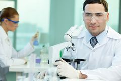 Experienced scientist. Portrait of an experienced scientist studying the results of the experiment under the microscope royalty free stock image