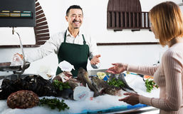 Experienced seller in fishery. Mature seller standing near fridge with icy fish in fish store Royalty Free Stock Photos