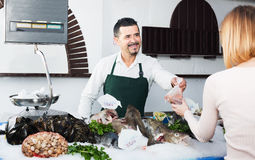 Experienced seller in fishery. Experienced seller standing near fridge with icy fish in fish store Royalty Free Stock Images