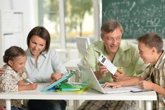 Experienced teachers working with children royalty free stock photography