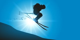 Extreme skier descends from off-piste mountain stock illustration
