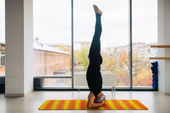 Experienced yoga man doing various poses indoors, panoramic city view at background.  Stock Photography