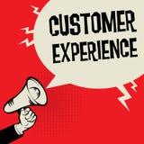 Experiencia del cliente del concepto del negocio de la mano del megáfono ilustración del vector