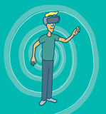 Experiencing virtual reality goggles headset Stock Image