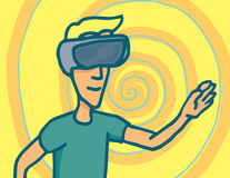 Experiencing virtual reality goggles headset Royalty Free Stock Photos