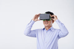 Experiencing virtual reality Royalty Free Stock Images