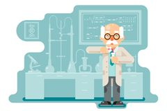 Experiment old wise smart scientist chemical laboratory transfuse chemical reagents test tubes flat design vector. Experiment old wise smart scientist laboratory Royalty Free Stock Photo