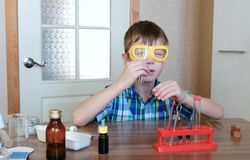 Experiment på kemi hemma Pojken ser röret för att se till det rengöringen för ` s royaltyfri fotografi