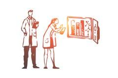 Experiment, wetenschap, chemie, onderzoek, laboratoriumconcept Hand getrokken geïsoleerde vector royalty-vrije illustratie