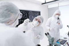 Experimental studies in a chemistry lab. Close-up of three researchers analysing and evaluating chemical reactions in a chemistry lab using lab tools and a Stock Photo