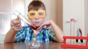 Experimente auf Chemie zu Hause Junge erhitzt das Reagenzglas mit roter Flüssigkeit auf brennender Alkohollampe Die Flüssigkeitsb stock footage