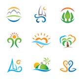 Experimente o paraíso do curso e viva molde livre do logotipo ilustração royalty free