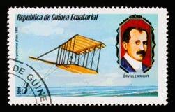 Experimenteel zweefvliegtuig 1900 en O Wright-portret, circa 1979 stock fotografie