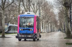 Experimentele driverless buslooppas in Toulouse, Frankrijk Stock Foto