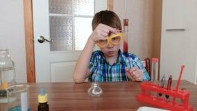 Experimenten op chemie thuis De jongen onderzoekt de inhoud van de reageerbuis stock video