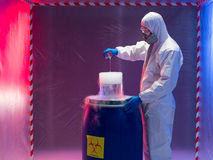 Experimenting with bio hazardous waste substances Stock Images