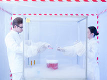 Experimenting with liquid nitrogen in sterile chamber Royalty Free Stock Photos