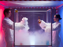 Experimenting in a sterile chamber Royalty Free Stock Photos