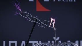 Experimento de alto voltaje con la bobina de Tesla almacen de metraje de vídeo