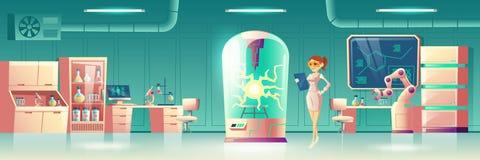Experimento de la ciencia en el vector futuro del laboratorio stock de ilustración