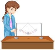 Experimento de la muchacha con la bola de la gravedad libre illustration