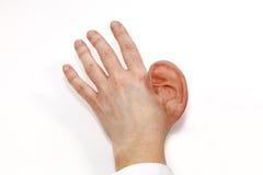 Experimentos genéticos U oído humano del silicón como producto de la prótesis Imagen de archivo