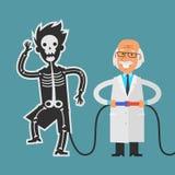 Experimentos que conducen del viejo científico con su ayudante stock de ilustración