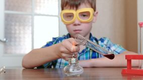 Experiments on chemistry at home. Boy heats the test tube with red liquid on burning alcohol lamp. Experiments on chemistry at home. Boy heats the test tube stock video footage