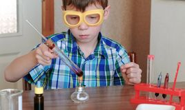 Experiments on chemistry at home. Boy heats the test tube with red liquid on burning alcohol lamp. The liquid boils. Royalty Free Stock Image