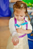 Experiments with soap bubbles. On the birthday party Stock Photography