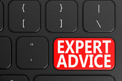 Expert Advice on black keyboard. 3D rendering Royalty Free Stock Image
