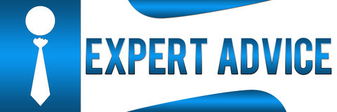 Expert Advice Blue Horizontal. Banner image with a Human icon with tie and Expert Advice text vector illustration
