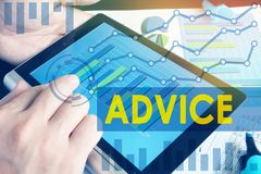 Expert advice for business and trading. Stock Image